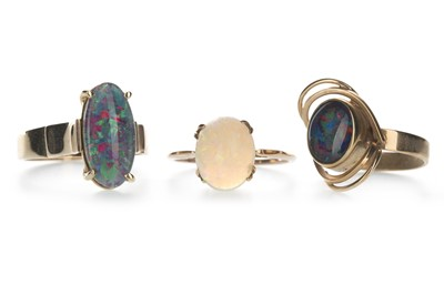 Lot 1316-AN OPAL RING AND TWO OPAL DOUBLET RINGS
