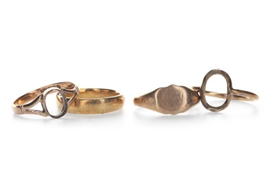 Lot 1318-FOUR PARTIAL GOLD RINGS