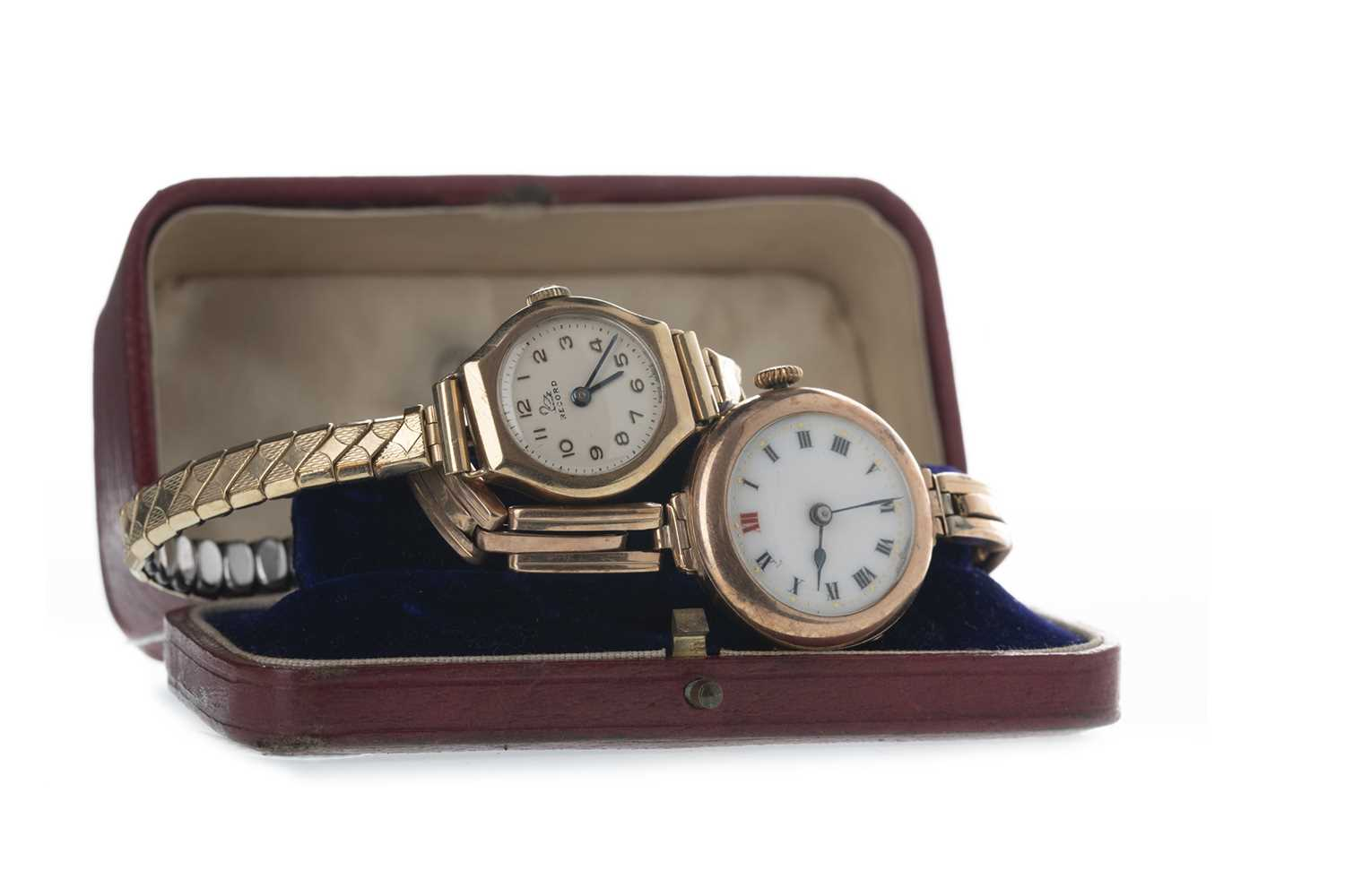 Lot 705-TWO LADY'S GOLD WATCHES