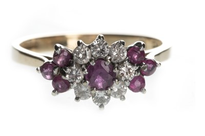 Lot 1326-A RED GEM SET AND DIAMOND CLUSTER RING