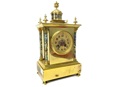 Lot 1109-A LATE 19TH CENTURY FRENCH BRASS AND CHAMPLEVE ENAMEL CLOCK