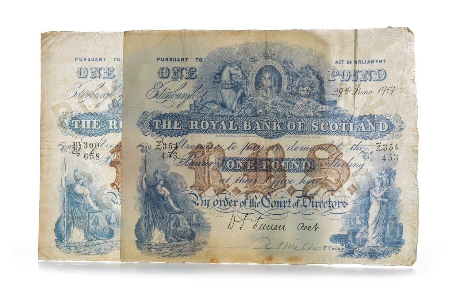 Lot 2-TWO ROYAL BANK OF SCOTLAND ONE POUND £1 NOTES