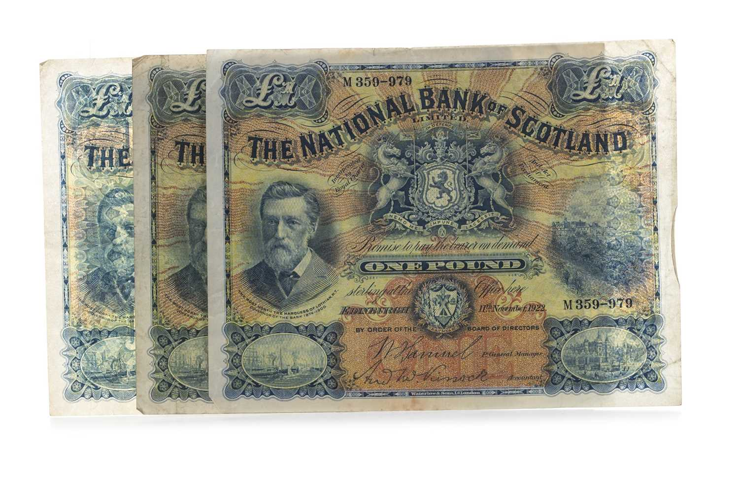 Lot 3-THREE NATIONAL BANK OF SCOTLAND ONE POUND £1 NOTES