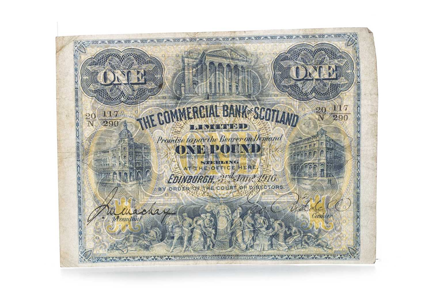 Lot 8-THE COMMERCIAL BANK OF SCOTLAND ONE POUND £1 NOTE