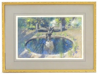 Lot 23-FOUNTAIN WITH SCULPTURE, A PASTEL BY PATRICK WILLIAM ADAM