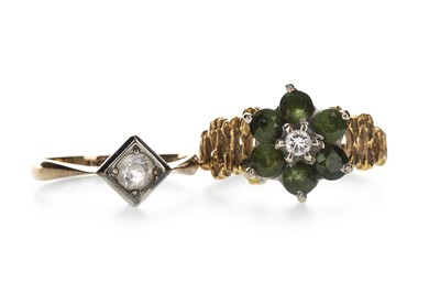 Lot 1327-A GREEN GEM SET AND DIAMOND CLUSTER RING AND A GEM SET RING