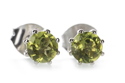 Lot 1349-A PAIR OF PERIDOT STUD EARRINGS