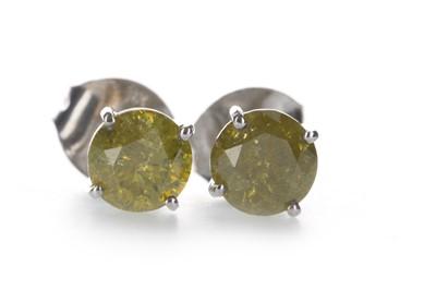 Lot 1354-A PAIR OF TREATED YELLOW DIAMOND EARRINGS