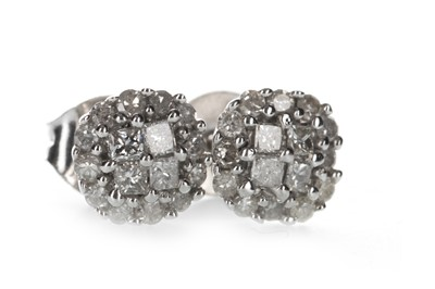 Lot 1359-A PAIR OF DIAMOND CLUSTER EARRINGS