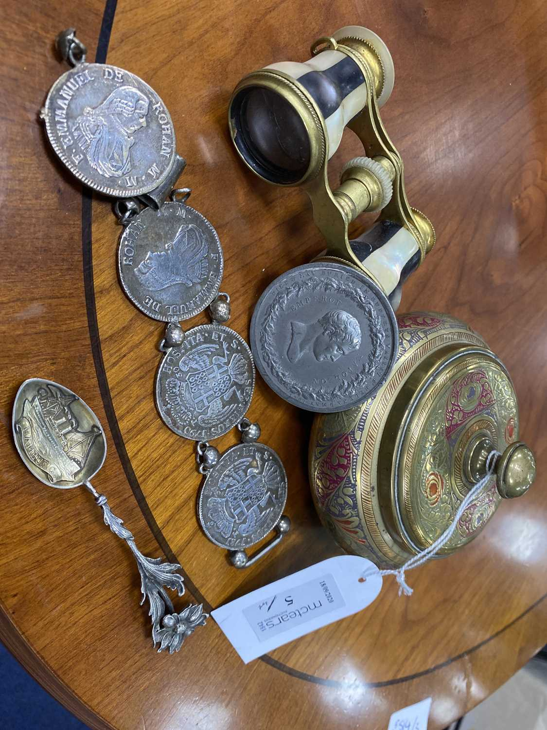 Lot 5-AN EMPEROR NAPOLEON COMMEMORATIVE MEDAL ALONG WITH A BRACELET AND SNUFF BOXES