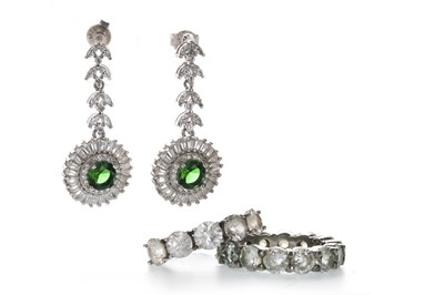 Lot 1330-TWO GEM SET RINGS AND A PAIR OF EARRINGS
