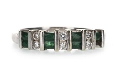 Lot 1340-A GREEN GEM SET AND DIAMOND BAND