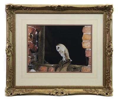 Lot 33-BARN OWL IN WINDOW, A GOUACHE BY JOHN R MORRIS