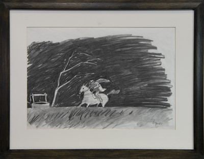 Lot 526-TAM O'SHANTER, BY THE THORN ABOON THE WELL, A PENCIL AND WASH BY ALEXANDER GOUDIE
