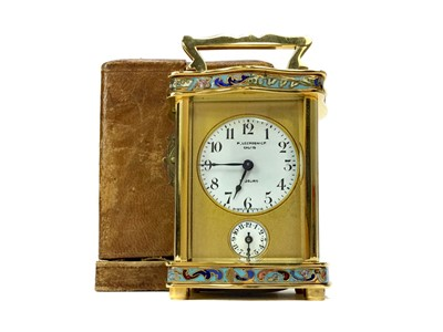 Lot 1110-A LATE 19TH CENTURY FRENCH CHAMPLEVE ENAMEL TRAVELLING TIMEPIECE