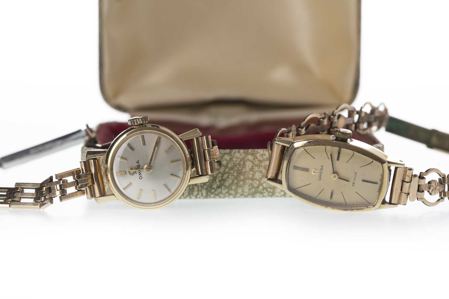 Lot 704-TWO LADY'S GOLD PLATED OMEGA MANUAL WIND WRIST WATCHES