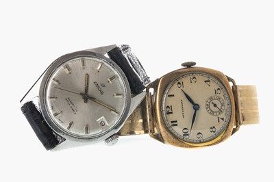 Lot 707-A GENTLEMAN'S ENICAR STAINLESS STEEL AUTOMATIC WATCH AND A HENDERSONS GOLD PLATED MANUAL WIND WATCH