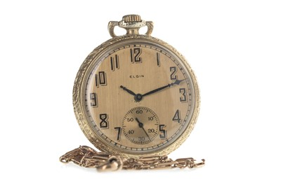 Lot 708-AN ART DECO ELGIN GOLD PLATED OPEN FACE KEYLESS WIND POCKET WATCH AND NINE CARAT GOLD CHAIN