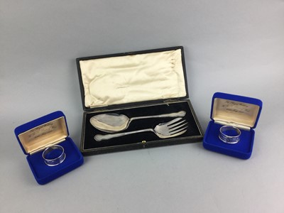 Lot 3-A LOT OF SILVER HANDLED AND PLATED FLAT WARE AND SILVER NAPKIN RINGS