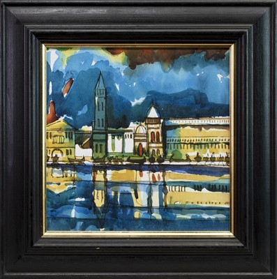 Lot 518-RIVER REFLECTIONS, A WATERCOLOUR BY JAMIE O'DEA