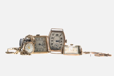 Lot 711-TWO GENTLEMAN'S GOLD WATCHES AND TWO LADY'S GOLD WATCHES