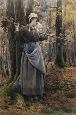Lot 45-PORTRAIT OF A LADY IN A WOODLAND, A WATERCOLOUR BY GEORGINA M DE L'AUBINERE