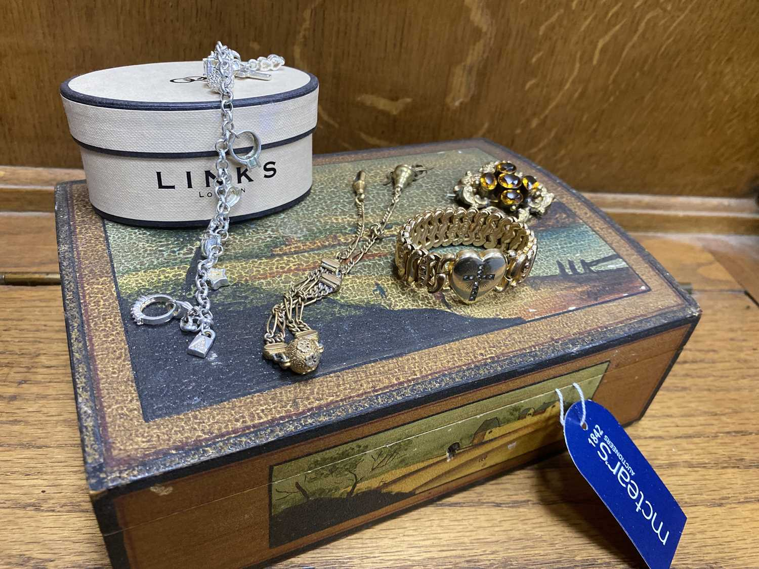 Lot 10-A VICTORIAN ROLLED GOLD EXPANDING BRACELET AND OTHER JEWELLERY