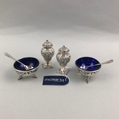 Lot 5-A PAIR OF SILVER SALT DISHES AND A PAIR OF SILVER PEPPER POTS