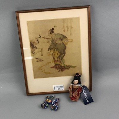 Lot 20-AN EARLY 20TH CENTURY CHINESE DOLL IN TRADITIONAL DRESS, BEADS AND A PRINT
