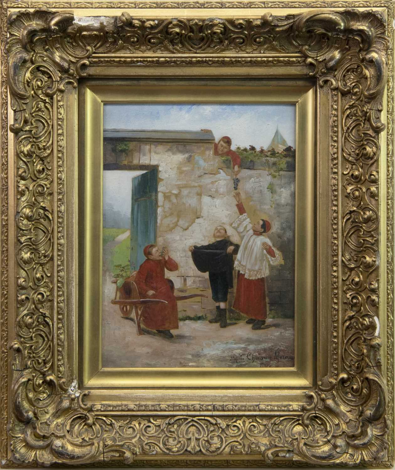 Lot 51-GRAPES, AN OIL BY PAUL CHARLES CHOCARNE MOREAU