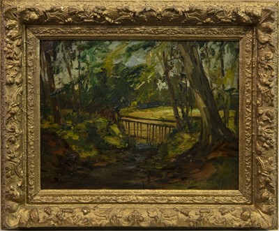 Lot 52-WOODLAND SCENE, AN OIL BY HARRY MACGREGOR