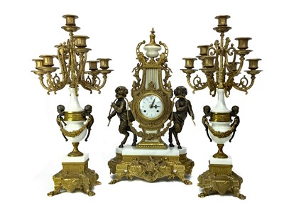 Lot 1114-A REPRODUCTION ITALIAN GILTMETAL AND WHITE MARBLE CLOCK GARNITURE