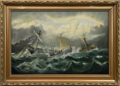Lot 44-RAMSGATE LIFEBOAT ''BRADFORD'', AN OIL BY CHRISTOPHER MARK MASKELL