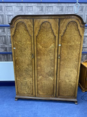 Lot 247 - A WALNUT WARDROBE, DRESSING CHEST, PAIR OF BEDSIDE CUPBOARDS AND TWO CHAIRS