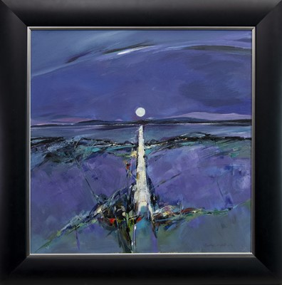 Lot 502-THE MOON IN JUNE IN DUNOON, AN ACRYLIC BY SHELAGH CAMPBELL