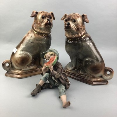 Lot 9-A PAIR OF STAFFORDSHIRE DOGS ALONG WITH OTHER CERAMICS