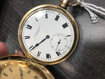 Lot 718-A ROLLED GOLD FULL HUNTER KEYLESS WIND POCKET WATCH