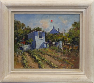 Lot 402-THE BLUE SHED, AUCHMITHIE, AN OIL BY J D HENDERSON