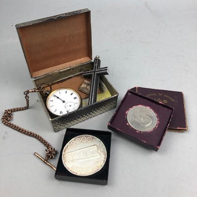 Lot 8-A GUN METAL CASED POCKET WATCH AND OTHER ITEMS