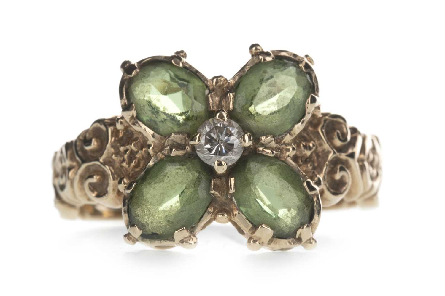 Lot 306-A GREEN GEM SET AND DIAMOND RING