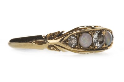 Lot 308-AN OPAL AND DIAMOND RING
