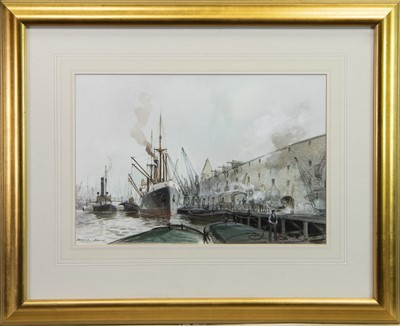 Lot 411-DOCKSIDE, STEAMERS, A WATERCOLOUR BY PETER CECIL KNOX