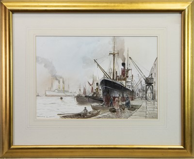 Lot 412-EMBARKING - THE DOCKSIDE, A WATERCOLOUR BY PETER KNOX