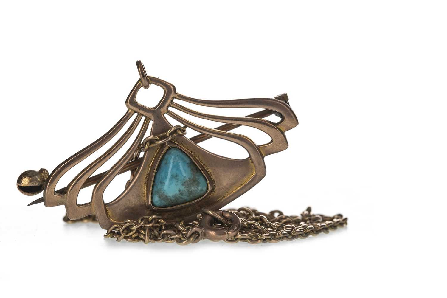Lot 320-AN ART NOUVEAU TURQUOISE BROOCH BY BARNET HENRY JOSEPH