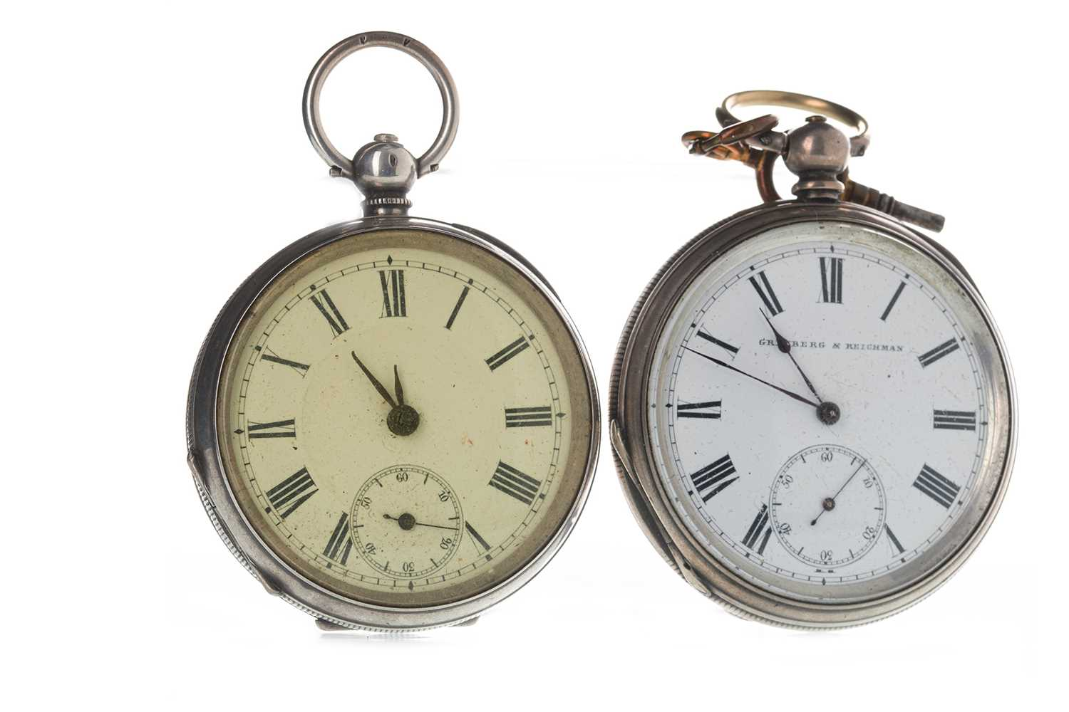Lot 722-TWO SILVER KEY WIND POCKET WATCHES