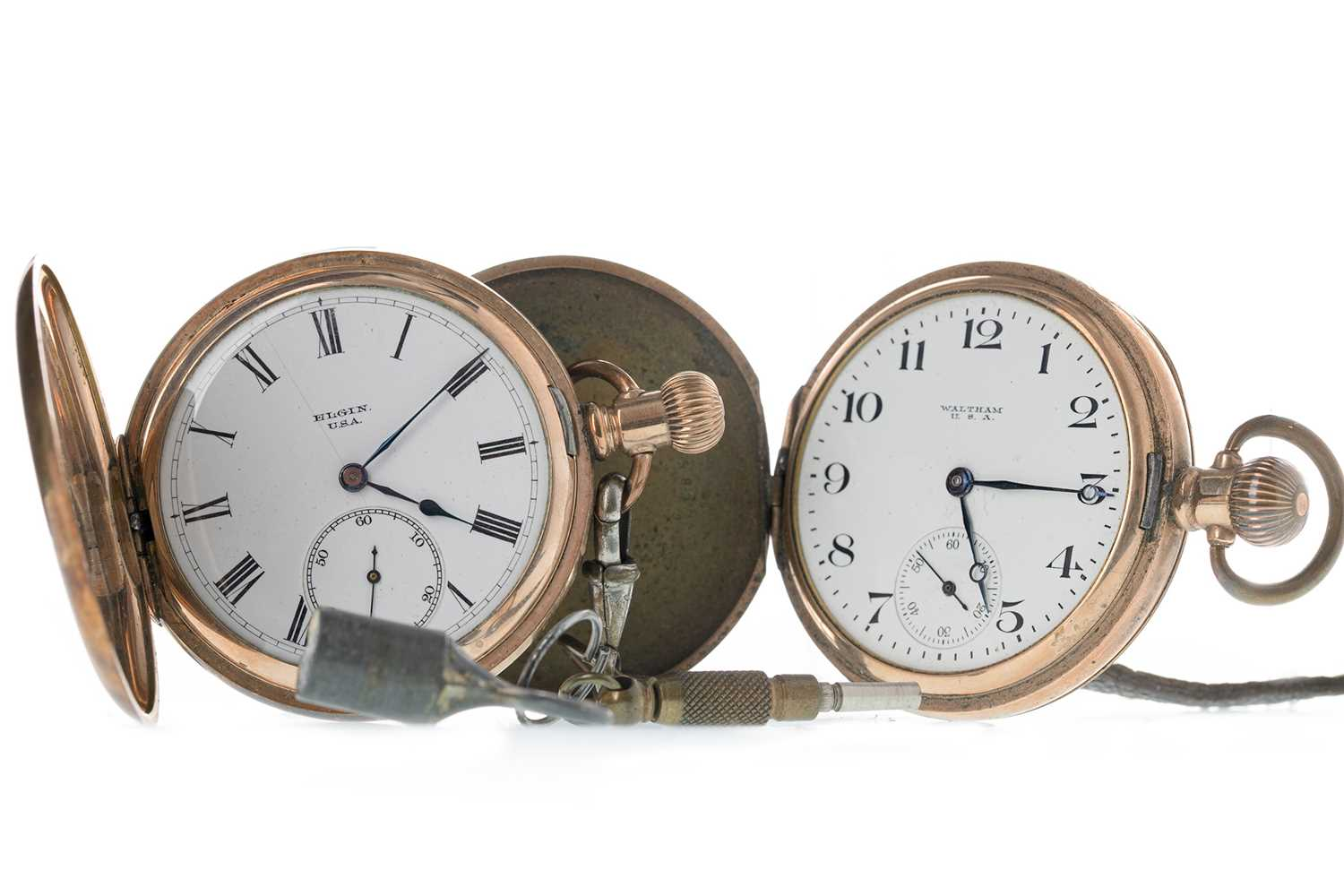 Lot 723-TWO GOLD PLATED POCKET WATCHES