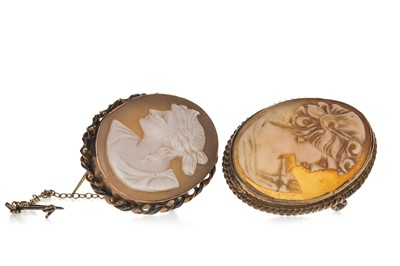 Lot 321-TWO CAMEO BROOCHES