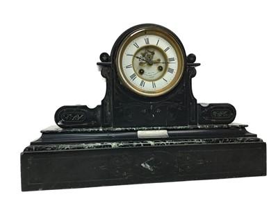 Lot 1119-A LATE 19TH CENTURY BLACK SLATE MANTEL CLOCK