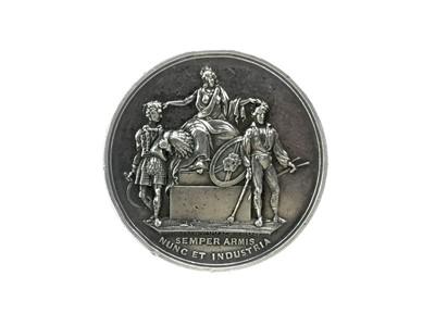 Lot 1716 - A VICTORIAN SILVER PRESENTATION MEDALLION