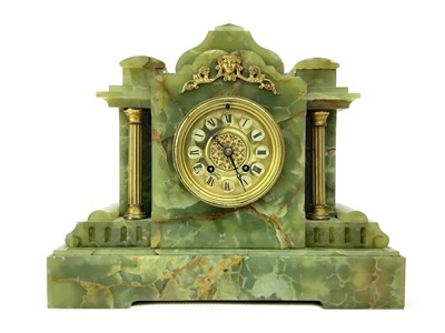 Lot 1120-A LATE VICTORIAN GILT AND ONYX MANTEL CLOCK